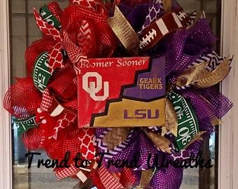 House Divided Wreath, OU LSU Wreath, College Football Wreath, Football Wreath, College Football, Sports Wreath, Team Wreath