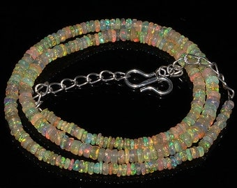 29  Crt Natural Ethiopian Welo Fire Opal Smooth Rondelle Beads Necklace 842