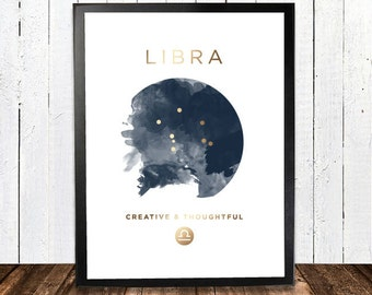 Libra Gold Foil Constellation Hororscope Print