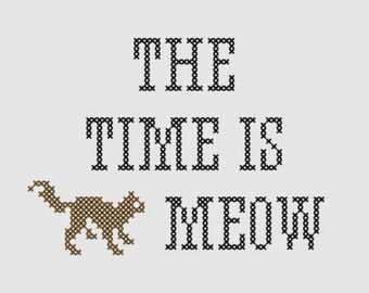 Cross stitch pattern 'The time is meow'