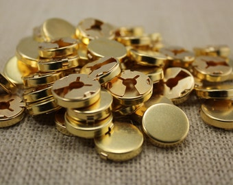 15mm Brass Button Cover Findings (12 pieces)