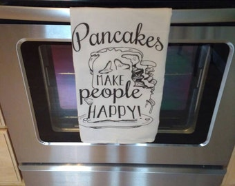 Flour Sack Cloth Towel-Pancakes Make People Happy -Breakfast - Pancake Lover-So Flippin Good-Kitchen Decor-Kitchen Towel-Breakfast Lover