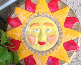 Handcrafted round cement multicolored Mayan Sun. In/outdoor/yard/garden art.  Hanging wall/patio/lanai/decoration.