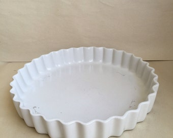 """Deep dish Extra Large Gourmet Quiche Tart Baking Pan 11.5"""" W white 1 1/2"""" deep Made in Portugal"""