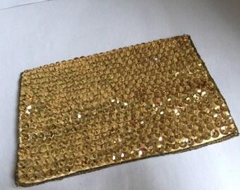 Vintage Walborg Silk gold sequined evening clutch
