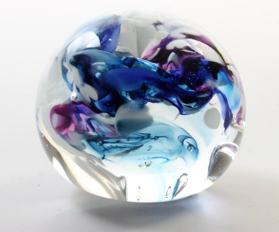 Mdina Glass Christmas Decorations: Glass Paperweight Blue Purple And White Paperweight