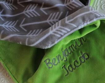 Personalized Baby Boy Blanket, Baby Girl or Boy blanket, Personalized Blanket, Baby Blanket, Baby Girl Blanket, Grey Arrows, Jade Green