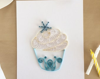 Quilling Paper White and Blue Cupcake with Snowflake Home Decor, Cupcake Art, Winter Decor, Bakery Art, Frozen Inspired Art