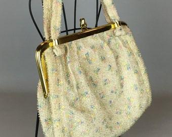 Vintage pastel Corde Bead purse, Lumured Purse, cream and pastel bag, 50s handbag
