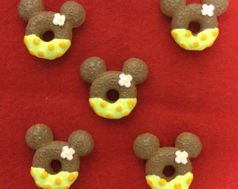 Set of 5 Yellow Minnie Mouse Resin