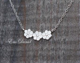 Flower Necklace Solid Gold 10k 14k 18k White Yellow or Rose, Three Flowers, Floral Necklace, 3 Flower Necklace, Flower Pendant, 3 Flowers