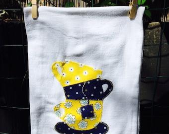 Tea towel with a cute stacking teacups cotton flour sack
