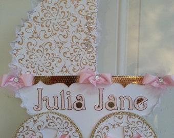 Pink And Gold Carriage Door Hanger / Baby Girl Door Hanger / Hospital Door  Hanger