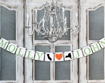 Wedding States SIGNS - Engaged Decorations - New York to California STATES Rustic Wedding Decorations - Engagement Photo Prop