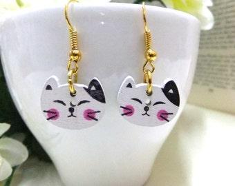 Wooden Cat Earrings, Wood Button Earrings, Cat Button Earrings, Small Earrings, Wood Earrings, Pink Cat Earrings, Cat Lovers, Girls Gift