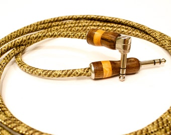 Guitar Cable, Exotic Wood & Tweed Cord - Handmade custom made to order instrument cable with gold or nickel audiophile high end leads