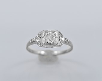 Antique Engagement Ring .35ct. Diamond & 18K White Gold - J35741