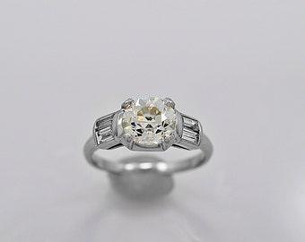 Antique Engagement Ring 1.28ct. Diamond & Platinum Art Deco- J34257