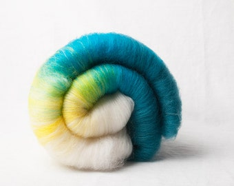 Mini gradient Batt from white to yellow to teal (#160036)