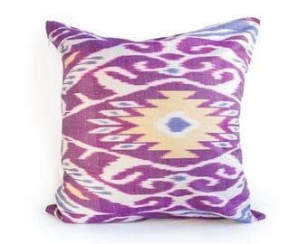 purple multi color ikat cushion- ikat pillow cover 20 in x 20 in- decorative ikat pillow cover-Throw Pillow Cushion Cover