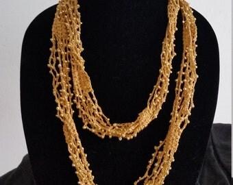 Golden Crochet Beaded Necklace