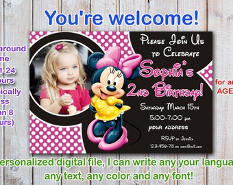 Minnie mouse Birthday Invitation, Minnie mouse Invitation, Minnie mouse Birthday card- Digital file