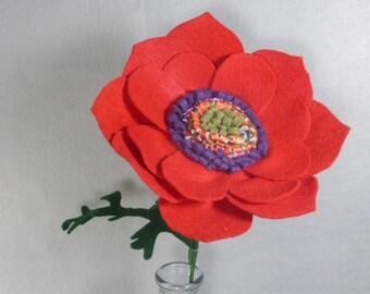 Red Felt Flower on a Stem - Artificial Flower - Fake Flower - Artificial Poppy - Fake Poppy - Felt Poppy - Red Flower