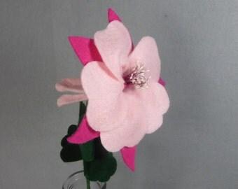 Fake Flower - Columbine, Artificial Flower, Felt Flower, Pink Felt Columbine, Colorado Columbine, Fake Columbine, Pink Flower