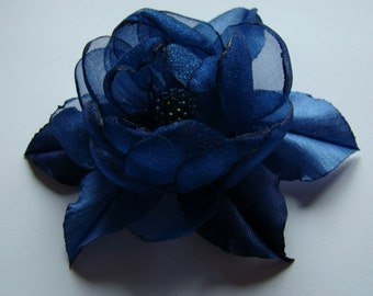 Handmade dark  blue organza flower brooch, flower clip & pin