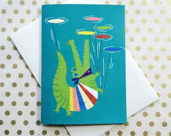 Rainbow croc - Blank greeting card
