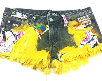 90s 'Art school drop out' frayed denim CUT OFFS shorts size S studded GRUNGE