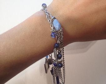 Silver & Cobalt Blue Chandelier Bracelet