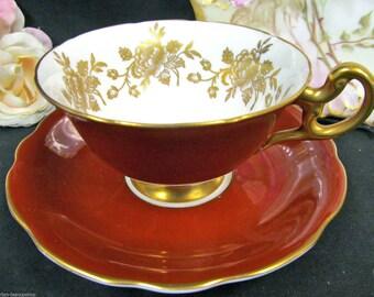 Foley tea cup and saucer burnt orange teacup gold roses inside pattern wide mouth