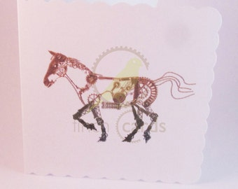 Steampunk Horse Blank Card, Horse Card, Steampunk Card, UK