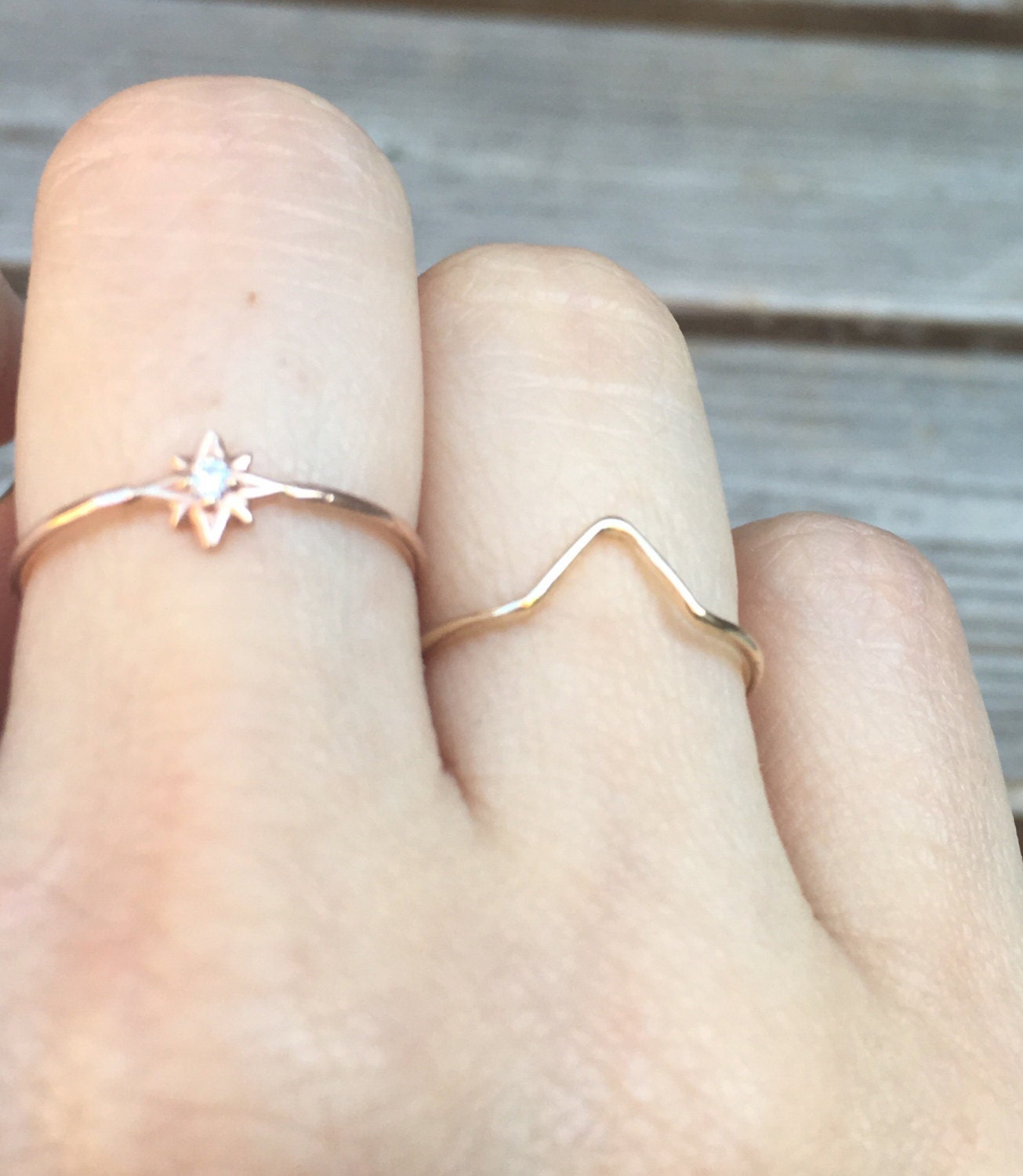 Solid 14K Gold Chevron Ring Stacking Ring Rose Gold White Gold