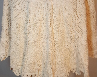 FREE  SHIPPING  Vintage Crochet Cotton Cape