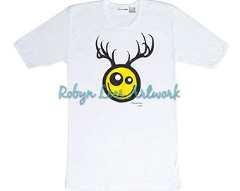 Smiley with Antlers Emoticon Art Artwork T-shirt, White Cotton