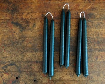 100% Pure Beeswax Hand-Dipped Taper Pair in Black - Made with Eco-Friendly Dyes, Pure Beeswax, and Cotton Wick - Made in Oklahoma