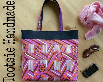 Vintage Fabric Tote Bag: Geometrics! Fabric bag, geometric bag, statement bag, shopping bag, beach bag, pink bag