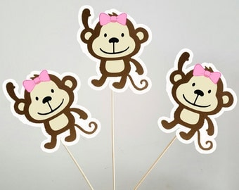 Monkey Centepieces, Girl Monkey Centerpieces