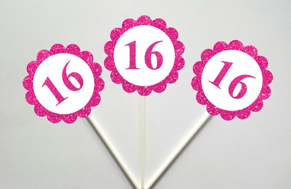 16th Birthday Cupcake Toppers Sweet 16 Cupcake Toppers