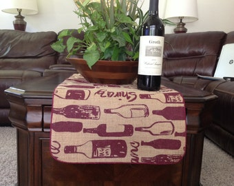 Burlap Table Runner in a Wine Bottle Print