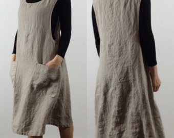 Linen Jumper Dress / Apron Dress