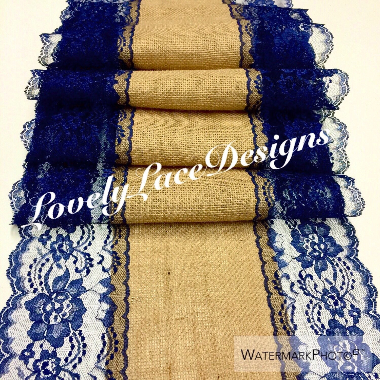 Navy Blue Lace Table Runner