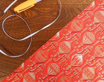 Elegant Red & Gold Illustrated Ornaments Vintage Gift Wrap Roll 2 yards