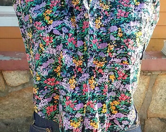 1990s Vintage Floral Crop Top Tank Top//SMALL