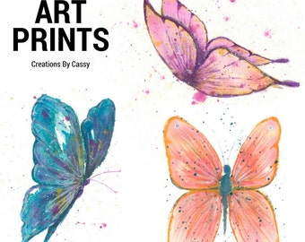 BUTTERFLY ART PRINTS - Your Choice of Scripted words