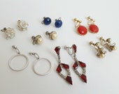 Lot of Vintage Screwback Screw Back Earrings – Rhinestones, Sterling, Pearls, Made in Japan. Seven (7) Pairs.