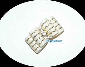 Puppy Bows ~RHINESTONE white gold center hair bow clip Yorkie  barrette dog grooming