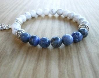 Sodalite Mala Bracelet, Healing & Balancing, Mala Bracelet, Yoga, Buddhist, Meditation, Prayer Beads